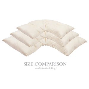 Size comparison of small, standard and king size pillows.