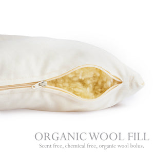 Organic wool bolus in The Right Pillow Standard pillow.