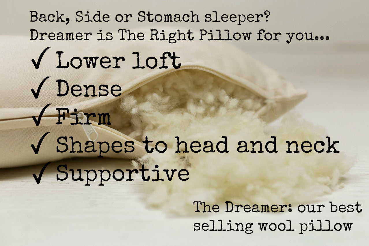 The Dreamer is our best selling wool pillow