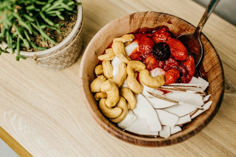 A wooden bowl of health food