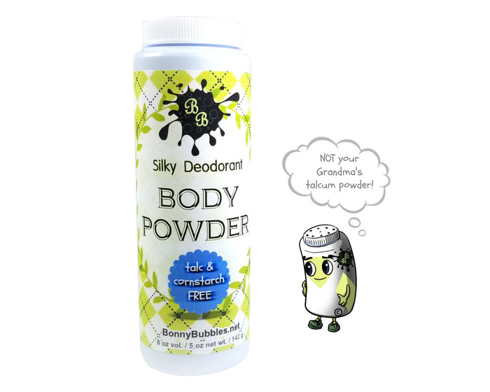 GREEN CLOVER n ALOE - deodorant body powder - talc and cornstarch free - dusting powder - by Bonny Bubbles