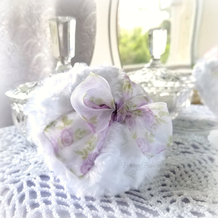 Body Powder Puff - lavender and white - floral organza - soft bath pouf - gift box option - handmade by Bonny Bubbles