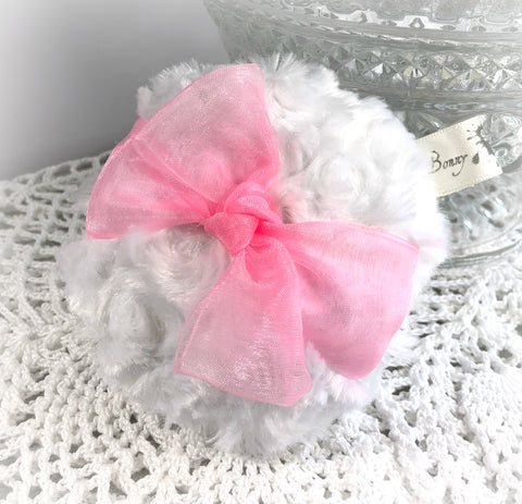 PINK Powder Puff - soft pink organza - pouf rose - dusting powder bath puff - gift box option - handmade by Bonny Bubbles