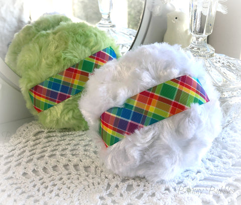 rainbow plaid powder puffs