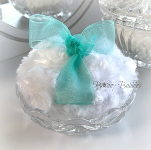 Glass Powder Puff Holder - 3.25 inch round scalloped glass pouf caddy - Bonny Bubbles
