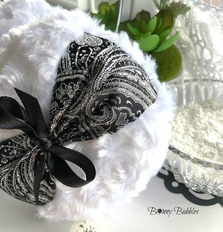 black and white powder puff