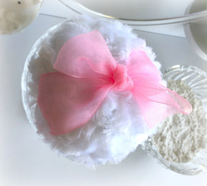 Glass Body Powder Puff holder - pouf caddy duster bowl - caddie dish for fluffy poof
