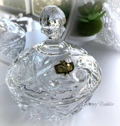 crystal glass covered powder dish