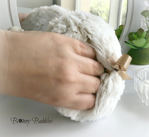 frosted beige body powder pouf