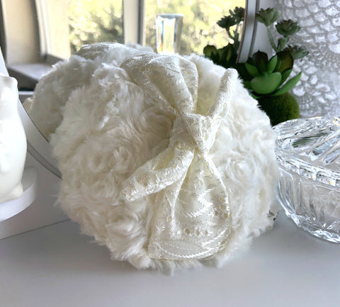 large powder puff with eyelet