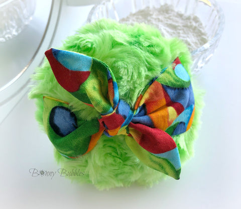 green retro rockabilly bandana style powder puff