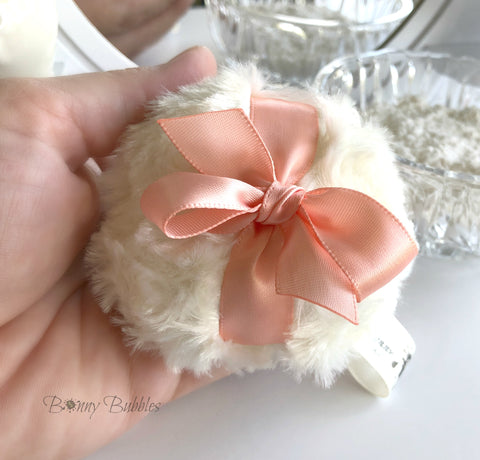 Peach Powder Puff - petite ivory and peach - miniature pouf - peaches and cream - gift box option - handmade by Bonny Bubbles