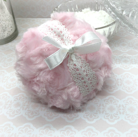 Pink Powder Puff - soft plush and crochet lace - gift box option - handmade by Bonny Bubbles
