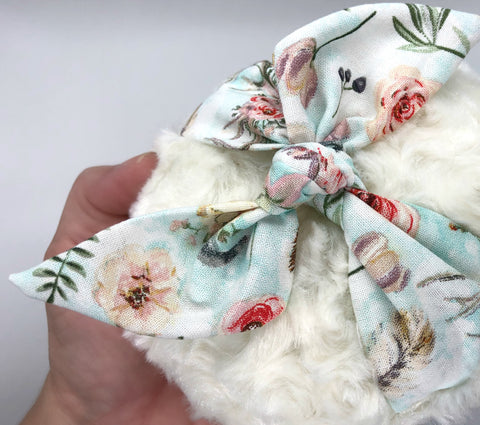 Powder Puff - Large 5 inch cream plush with botanical theme cotton