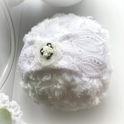 powder puff with eyelet and roses