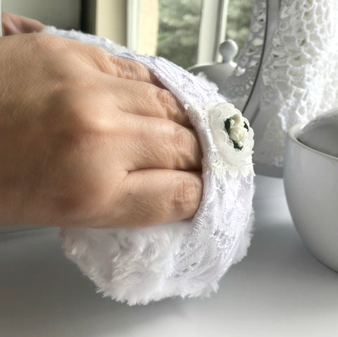 Body Powder Puff - White Eyelet and Porcelain Roses - Shabby Chic Vintage Style - Handmade Powderpuff