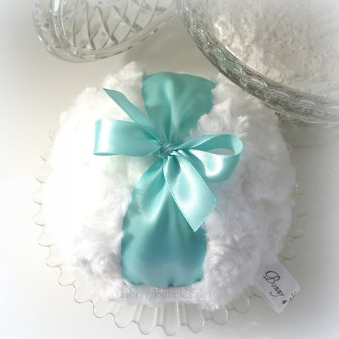 Aqua and White Powder Puff - robins egg blue - big pouf - gift boxed - made by Bonny Bubbles
