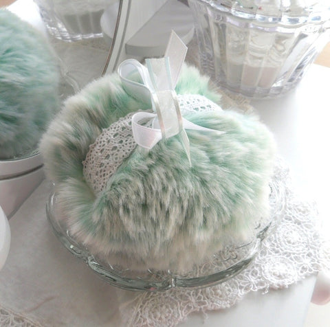 seafoam green powder puff