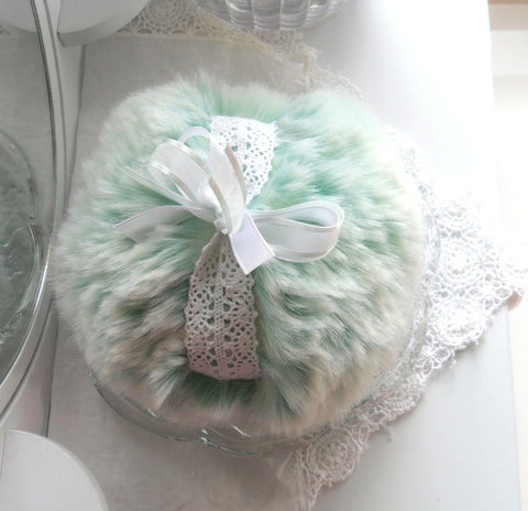 Green Powder Puff - ultra soft seafoam green plush - gift box option - shabby chic - by Bonny Bubbles