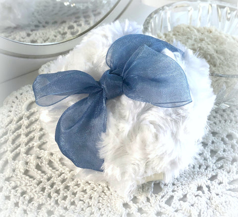 blue organza powder puff