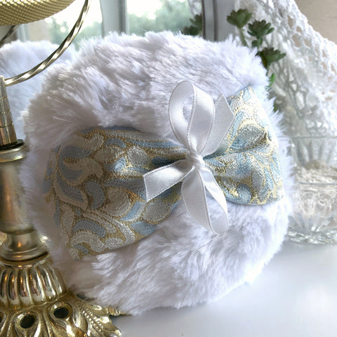blue and gold brocade powder pouf