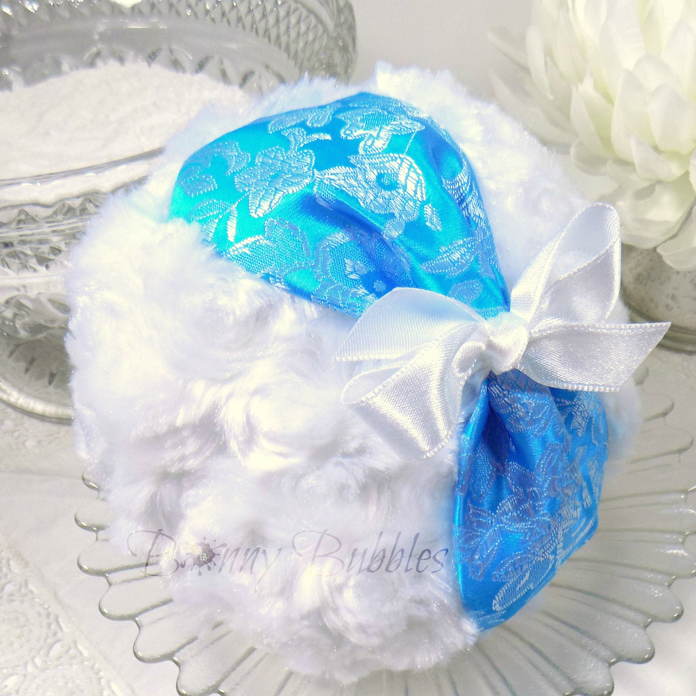 aqua and white brocade powder puff