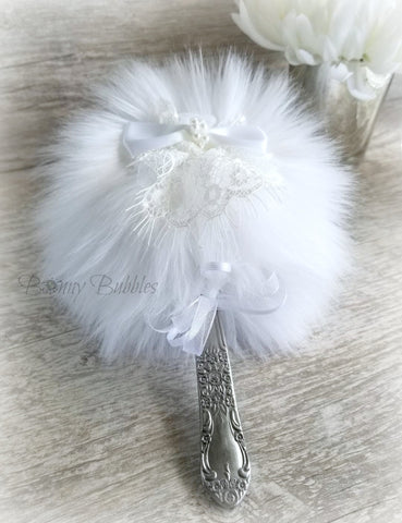 Powder Puff Wand - WHITE Fluffy Puff with handle - country chic - silky soft faux fur plush by Bonny Bubbles