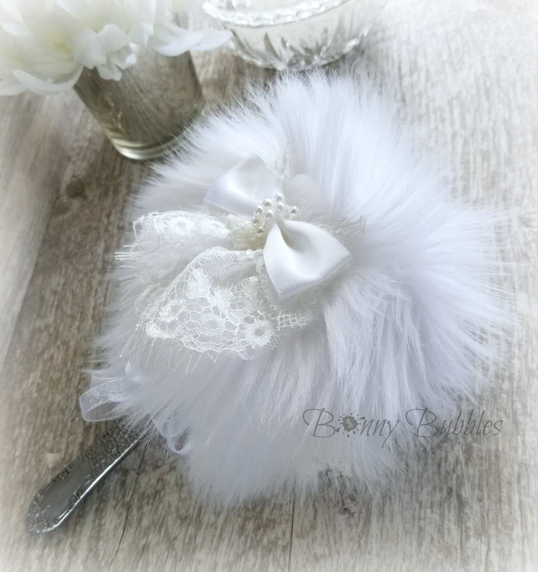 WHITE Powder Puff Wand - Fluffy Puff with handle - country chic - silky soft faux fur plush by Bonny Bubbles