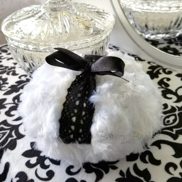 BLACK Powder Puff - noir et blanc - soft bath pouf - gift box option - made by Bonny Bubbles