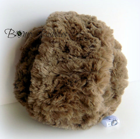 BROWN Powder Puff - big and cuddly soft powder duster - gift boxed - 5 inch pouf - Gender neutral - handmade by Bonny Bubbles