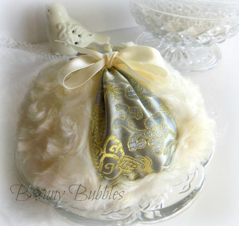 Butter Cream Powder Puff - silver and gold satin brocade powderpuff - grande pouf creme - by BonnyBubbles - gift boxed