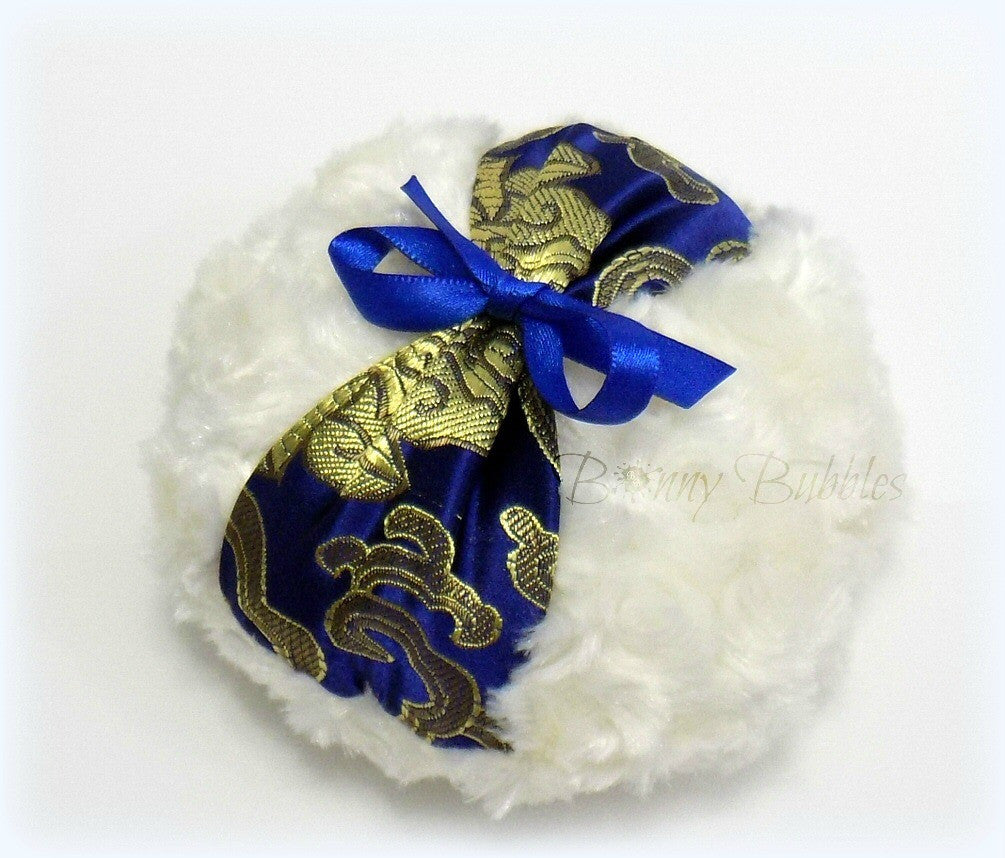 blue brocade puff