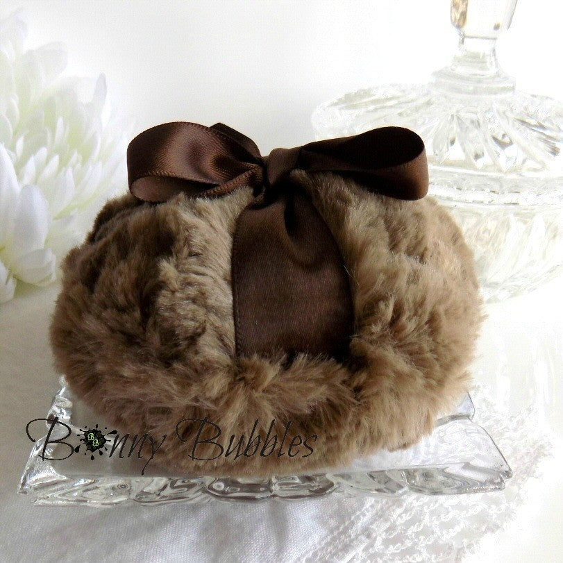 BROWN Powder Puff - soft plush body pouf - looks like milk chocolate - gift boxed, made by Bonny Bubbles