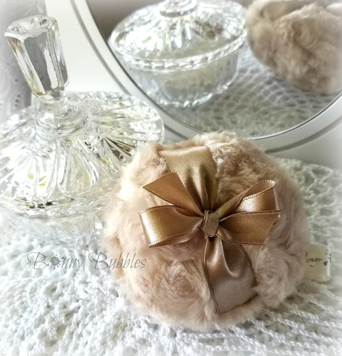 BROWN SUGAR Powder Puff - pouf brun sucre - gift box option - body powder duster - handmade by Bonny Bubbles