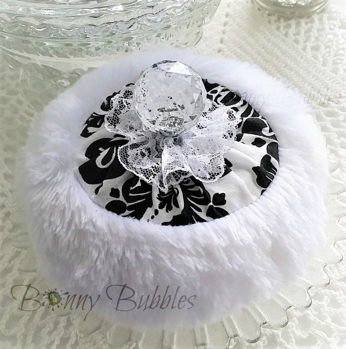 BLACK and WHITE Powder Puff - SOLD OUT - powderpuff - bath pouf with handle - gift box option - handmade by BonnyBubbles