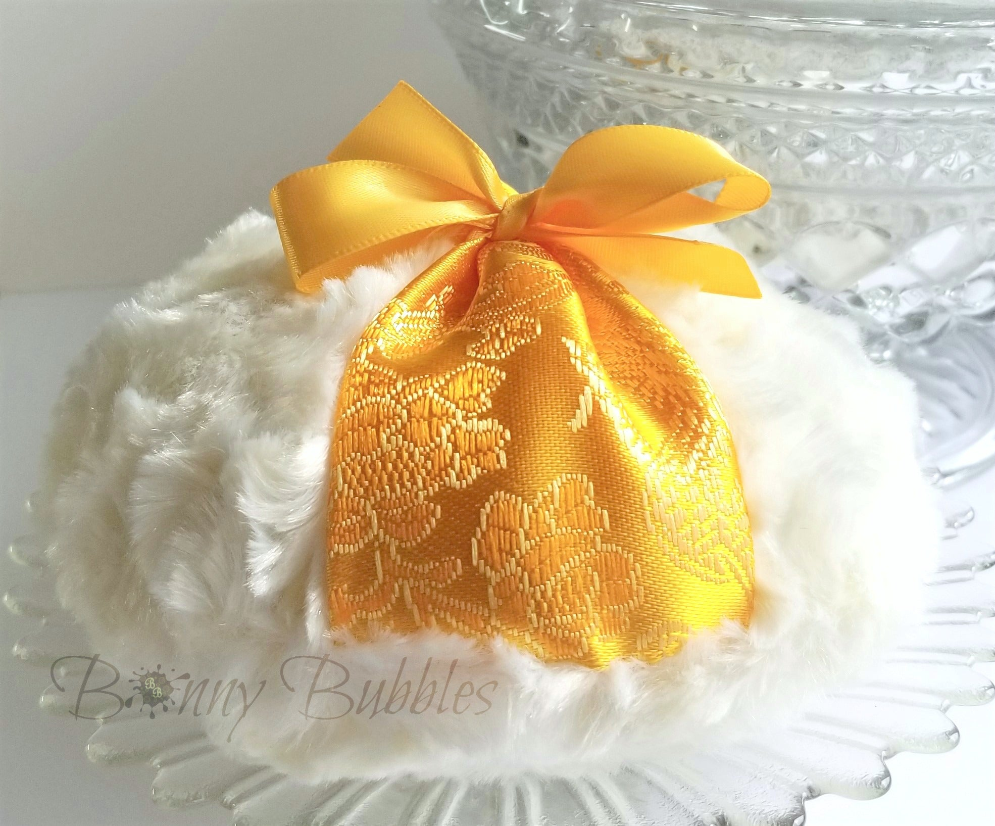 orange brocade body powder puff