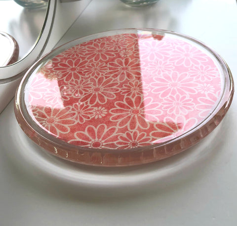 coral flowers glass dish
