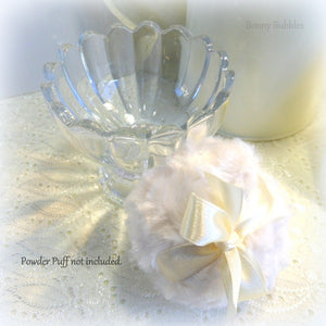 Glass Powder Puff holder - pouf caddy - scalloped top edge duster bowl - SOLD OUT