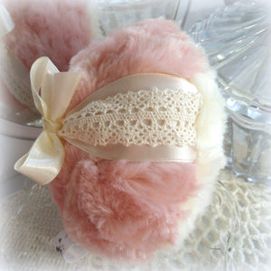 pink and ivory puff