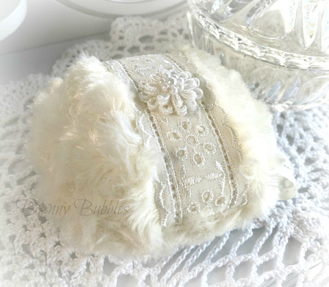 ivory eyelet powder puff