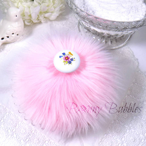 pink fluffy powder puff