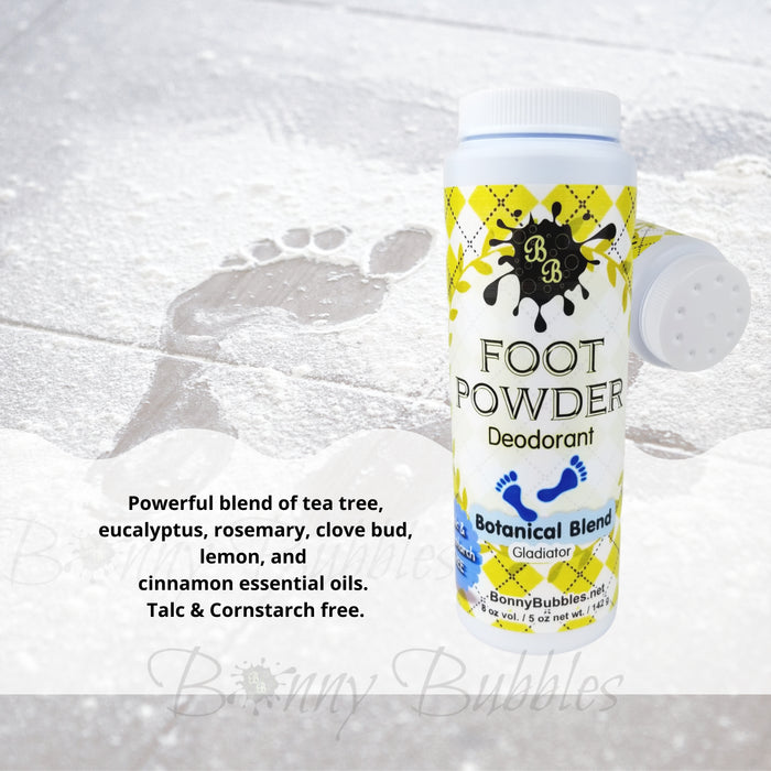 FOOT POWDER  talc and cornstarch free - Natural essential oil blend, by Bonny Bubbles