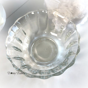 glass powder puff bowl