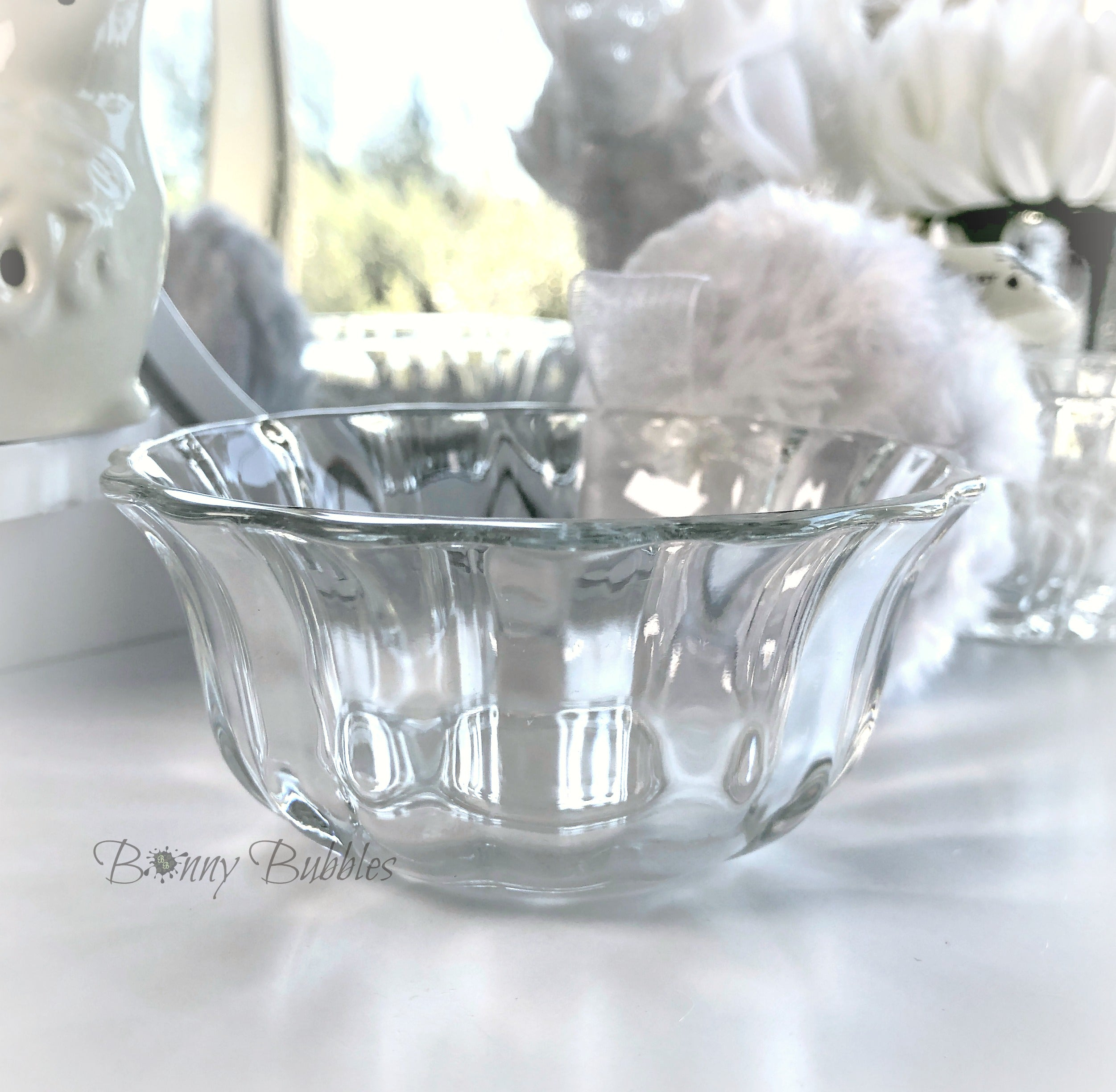 glass powder puff dish