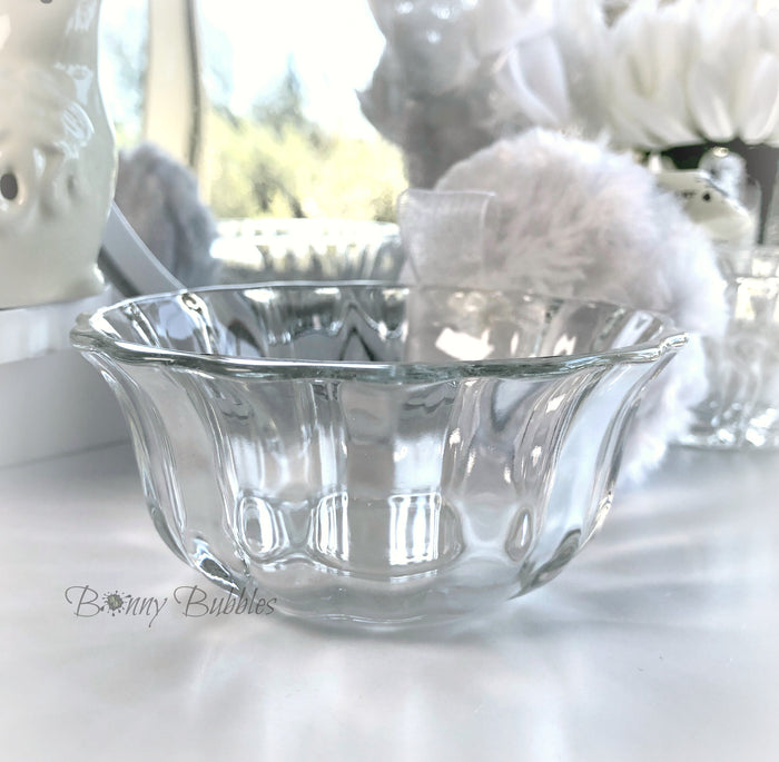 Glass Powder Puff Holder - 3.5 inch round glass pouf caddy - Bonny Bubbles