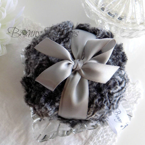 GRAY and BLACK Body Powder Puff - pewter grey - bath pouf gris - gift boxed by BonnyBubbles