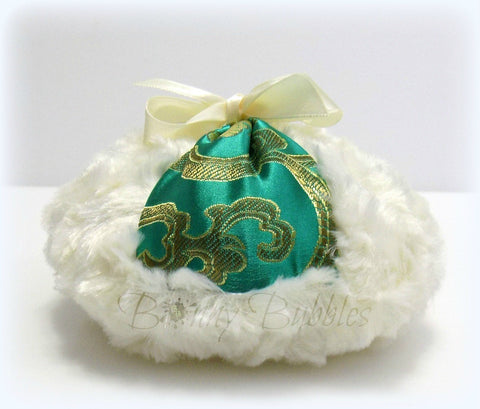 GREEN Powder Puff - emerald green satin brocade, ivory cream plush - gift box option - big pouf