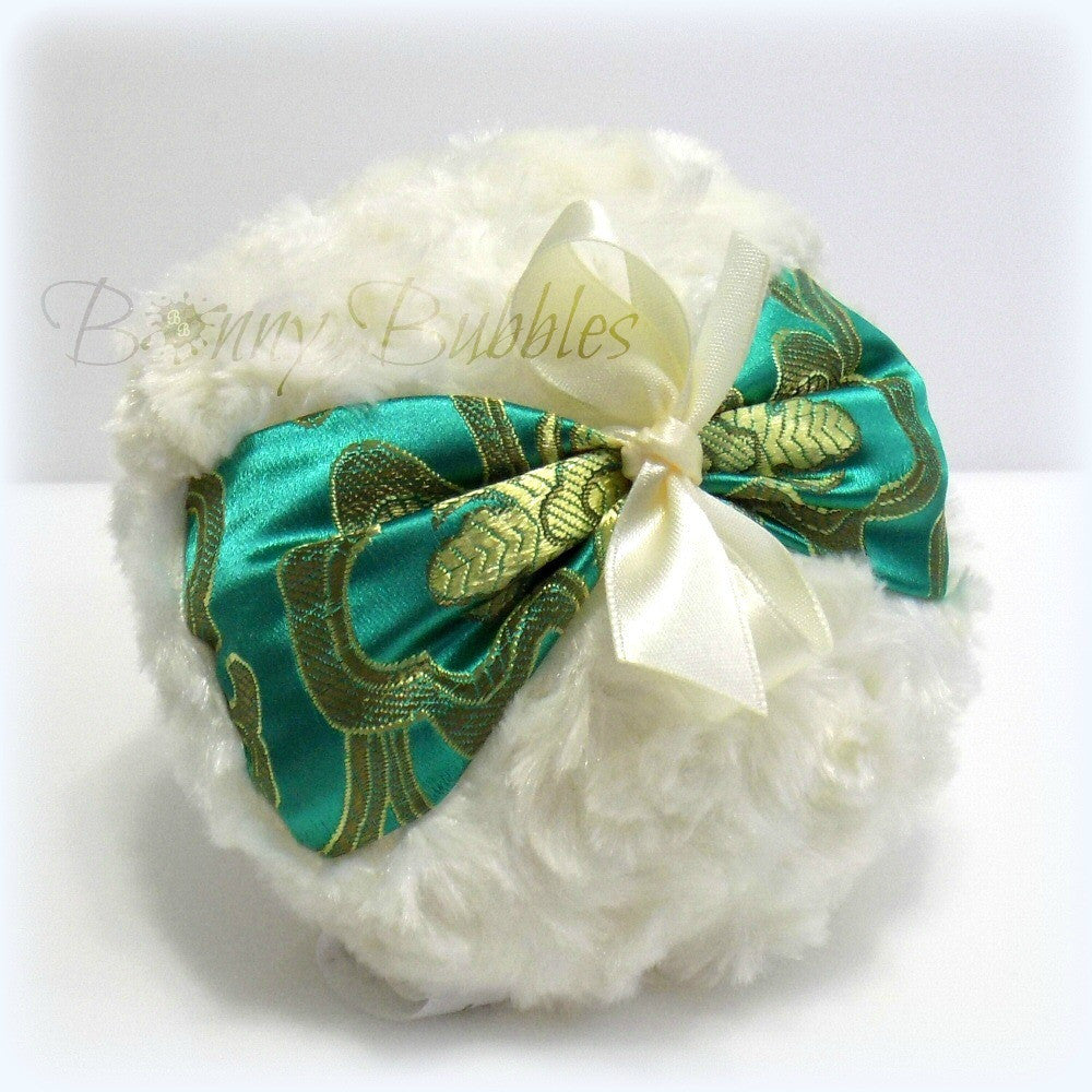 emerald green brocade puff