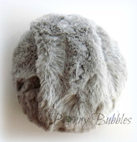 GRAY Powder Puff - big and cuddly soft powder duster - gift boxed - 5 inch pouf gris - Gender neutral - handmade by Bonny Bubbles