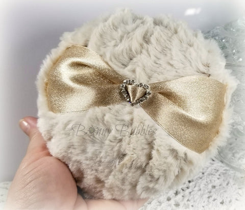 BEIGE Powder Puff - jewel heart accent, faux chinchilla fur - ivory powder duster, body powder - handmade, large pouf - gift box option